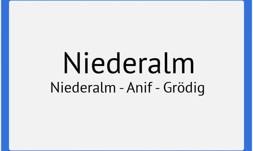 Ortstafel Niederalm - Anif - Grödig